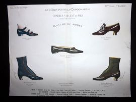 Le Moniteur de la Cordonnerie 1888 Rare Hand Colored Shoe Design Print 35